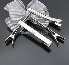 50PCS 77*9 mm  Silver  Duckbill clip Prong Alligator Hair Clips Barrette for Bows accessories hairpins #0720