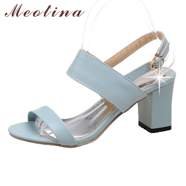 Meotina Shoes Women Sandals Summer Open Toe Ankle Strap Party Thick High Heels Sequined Black White Ladies Blue Shoes Size 43