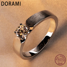 Dorami 0.5 carats Simulation diamond ring 925 silver for men Wedding couple ring classic fashion finger Jewelry High quality