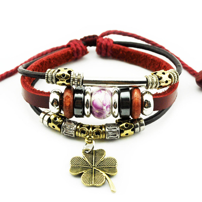 Fashion Clover Jewelry Adjustable Red Leather Bracelet & Bangles ...