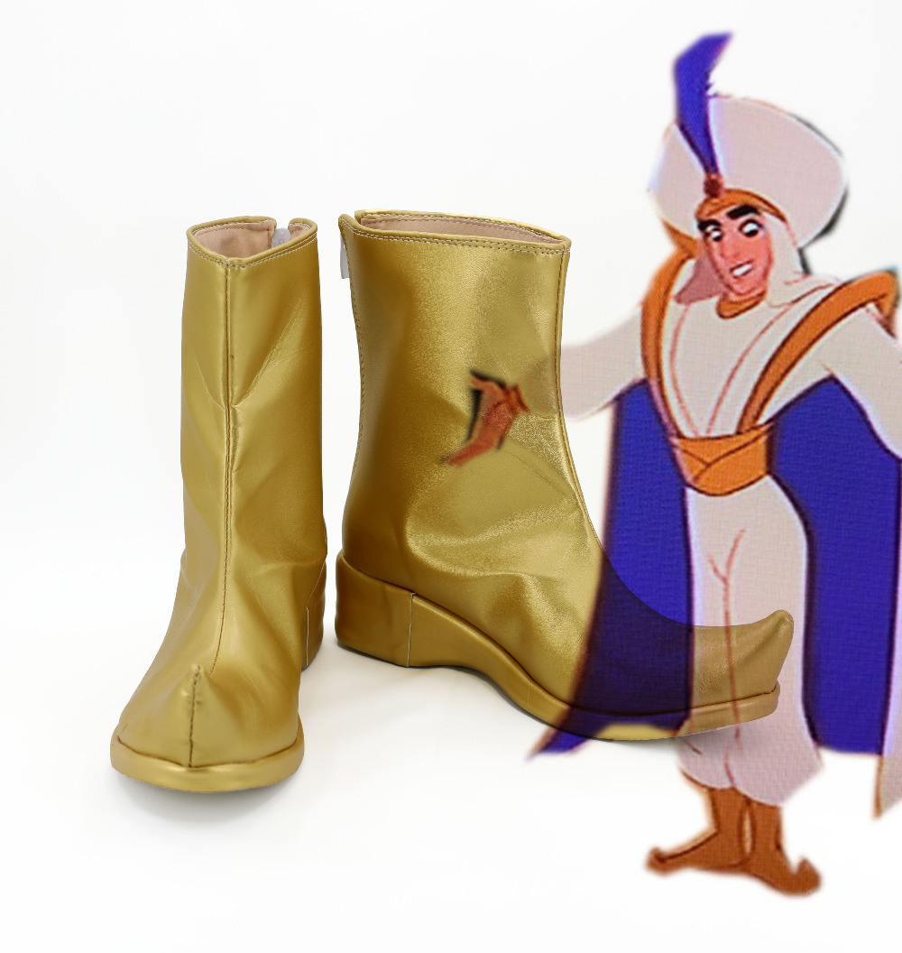 Aladdin Cosplay Boots Shoes For Halloween Costume Golden Color Boots Custom Made European Size