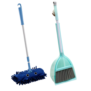 Baby Play Housekeeping Toys Kits Children Housekeeping Cleaning Tools Kit With Mop Broom Dustpan - Mint Green + Blue(China)