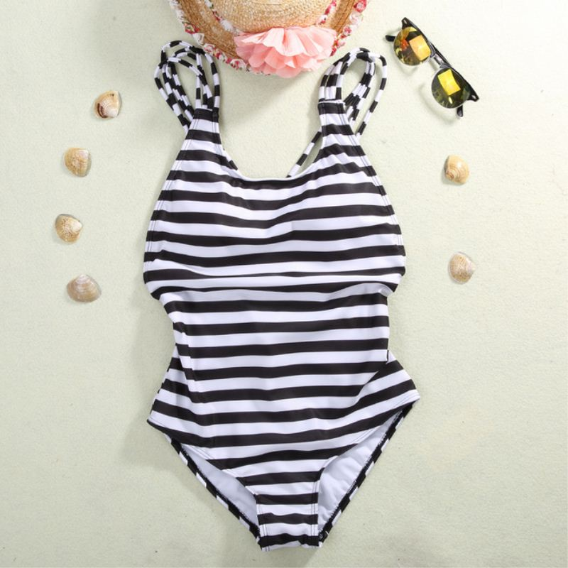 Sexy Women's Swimwear One Piece Swimsuit Monokini Striped Padded Bikini Bathing 2017 Hot Selling 3