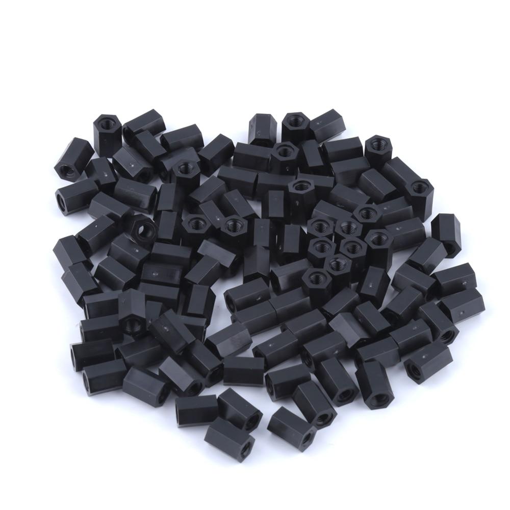 100pcs/set Black Plastic Nylon M3 Hex Column Standoff Spacer Phillips Screw 20pcs m3 copper standoff spacer stud male to female m3 4 6mm hexagonal stud length 4 5 6 7 8 9 10 11 12mm