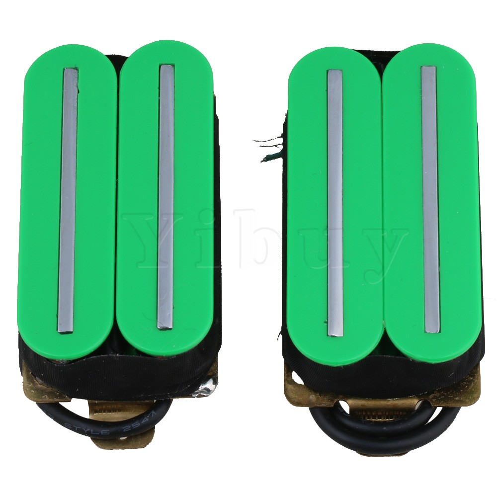 Yibuy Green Plastic Magnets Big Dual Rail Dual Coil Pickups Humbucker Pickup for Electric Guitar Parts homeland guitar pickup humbucker gold chrome black double coil pickups accessories bridge neck set for electric guitar pickups