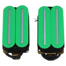 Yibuy Green Plastic Magnets Big Dual Rail Dual Coil Pickups Humbucker Pickup for Electric Guitar Parts