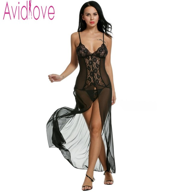 Avidlove Women Sexy Lingerie Dress Nightgown Sheer Mesh Lace Sleep Dress Split Long Maxi Dress Sleepwear + G-string Vestidos