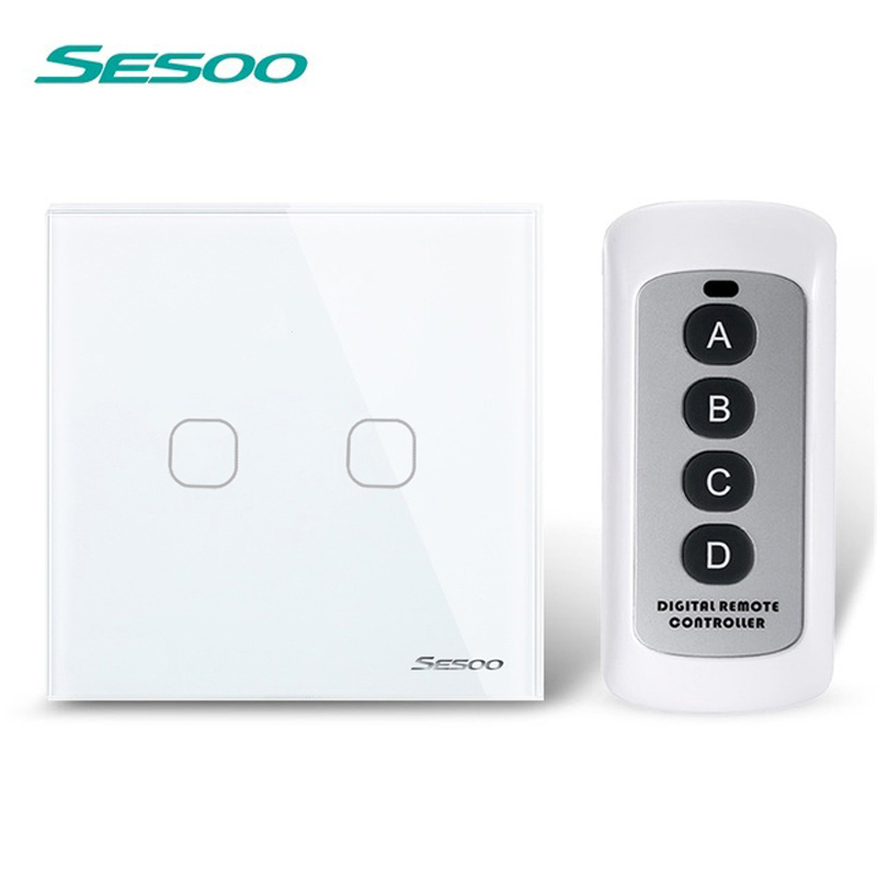 SESOO Remote Control Switch 2 Gang 1 Way,White Crystal Glass Switch Panel,Remote Wall Touch Switch+LED Indicator For Smart Home white 1 gang 1 way led crystal glass panel light touch screen remote switch for light with wireless remote control 110v 220v