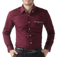 Hommes Casual Slim Fit Shirt Tops 2017 À Manches Longues Noir/Blanc/Vin Rouge Camisa Masculina Hommes Casual Shirts Tops Plus La Taille 5249