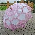 Rosa e Branco de Renda Bordado Guarda-chuva Nupcial Acessório Foto Adereços Guarda-chuva Decorações de Casamento Presentes de Casamento Fan Sun Umbrella