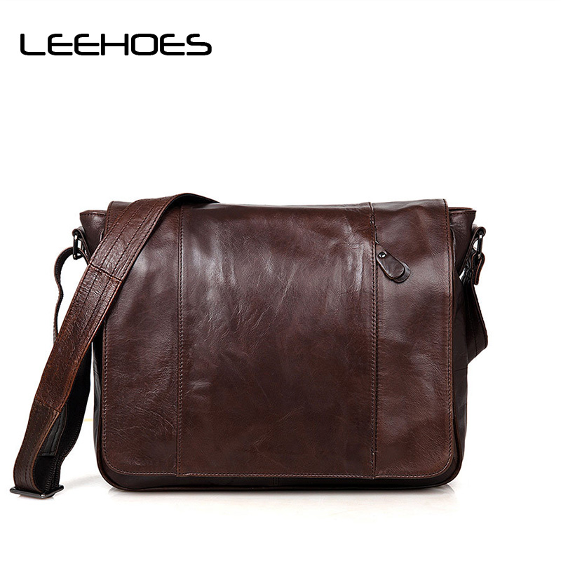 Fashion Men's Shoulder Bags Genuine Leather Business Travel Casual Messenger Bag Handbags Cross Body School Bags Man Clutch Bag leisure mens brand totes bags 2017 new selling fashion man leather messenger bag male cross body shoulder business bags for