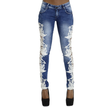Фотография High Quality Lace Patchwork Women Pencil Pants Jeans Trousers Low Waist Skinny Slim Denim Elastic Pants Plus Size Female P45