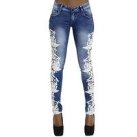 Fetoo Yüksek Kaliteli Dantel Patchwork Kadın Kalem Pantolon Kot Pantolon Düşük Bel Skinny Slim Denim Elastik Pantolon Kadın P45