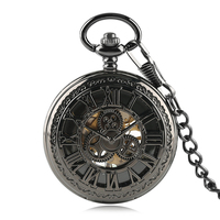 Steampunk Cool Black Gear Wheel Mechanical Hand Winding Pocket Watch Roman Numbers Display Vintage Luxury Clock Gifts with Chain