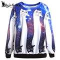 [You're My Secret] Blue Galaxy Digital Print Hoodies Black White Cat Autumn Winter Sweatshirt Casual Long-Sleeve Woman Sudaderas