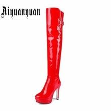 2017 de alta calidad sobre la rodilla mujeres botas de moda tamaño Europeo 40 41 42 43 44 45 46 47 48 botas de señora PU de cuero ENVÍO GRATIS