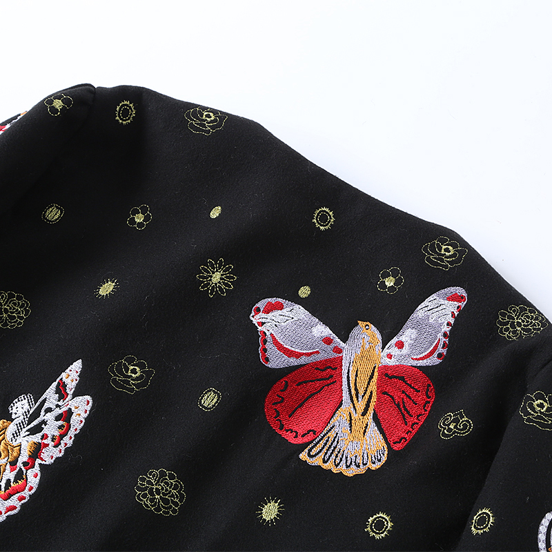O Oiseau Abeille Sans L'europe 2018 Élégant Et Manches Mode Nouvelle Casual De Broderie Manteau Hiver Cpat nec Arrivée Pulls Femmes ggzZF0OS