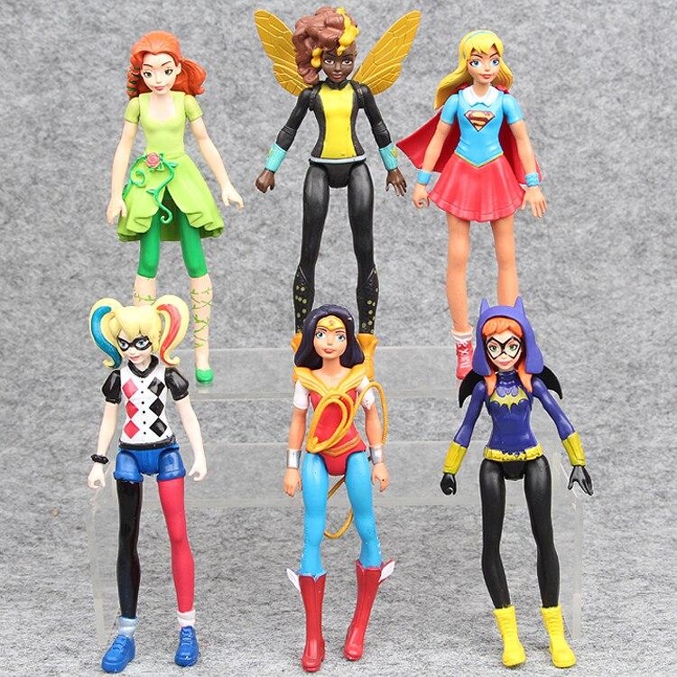 6 шт./компл. отряд самоубийц Wonder Woman Batgirl Ядовитый плющ Bumble Bee Харли Квинн фигурку игрушки мультфильм ПВХ Модель детей подарок