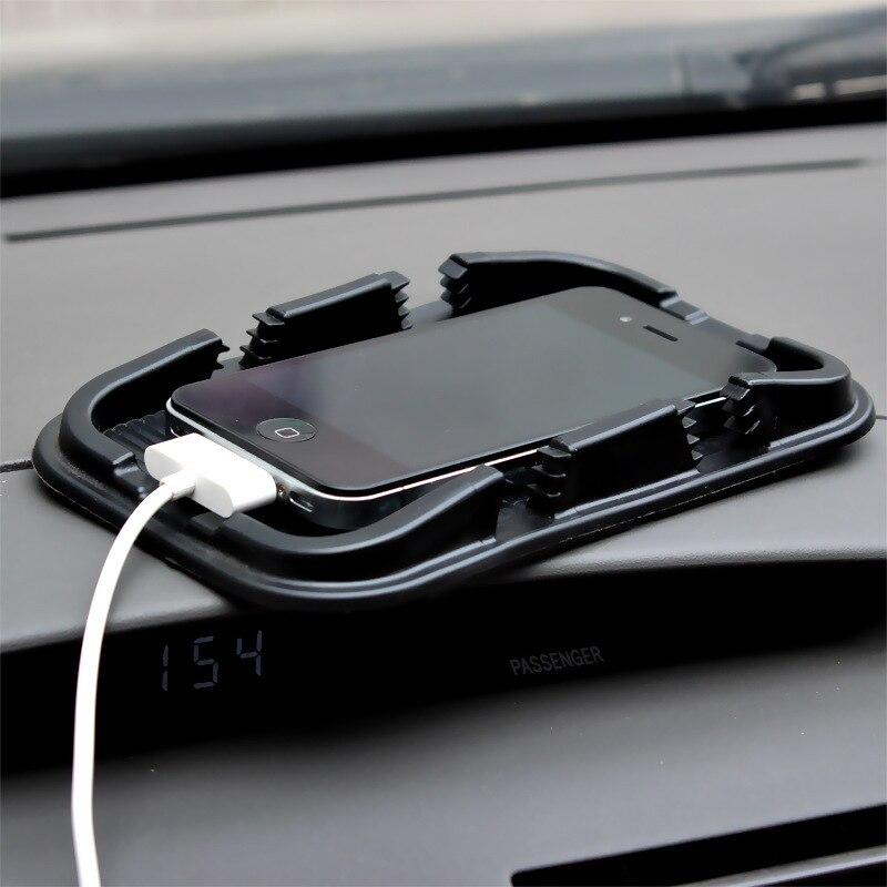 Forma criativa dupla slot para cartão do telefone móvel do carro GPS navegação mat 17*11 cm/16*10 cm não-slip sticky mat com tapete de fundo