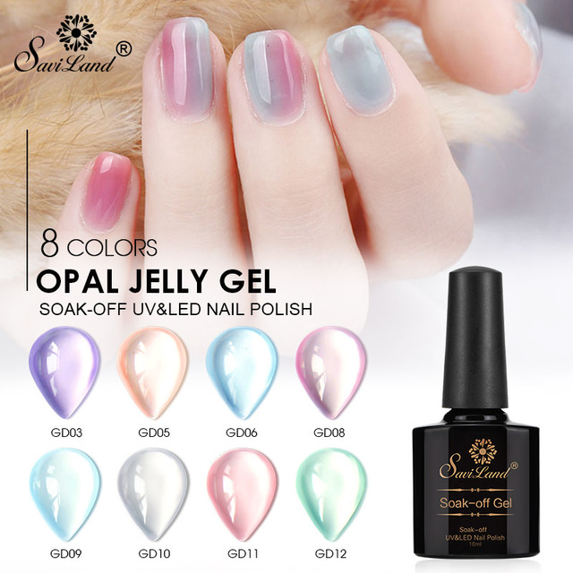 Saviland Semi Transparent Opal Jelly Gel Nail Polish Soak Off Gel Varnish UV LED Gel Lak Nail Art Manicure 10ml