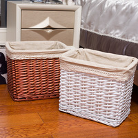 Handmade Wicker Woven Square Storage Basket Cotton Fabric laundry basket Creative home linen Clothes toys organizer mx01221026