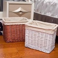 Handmade Wicker Woven Square Storage Basket Cotton Fabric laundry basket Creative home linen Clothes toys organizer mx01221026