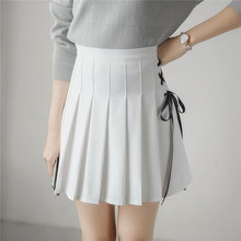 2017 Women Skirt Korean New Spring And Summer College Style Wind Band Bow Pleated Half Skirt Pants High Waist A Word Skirt