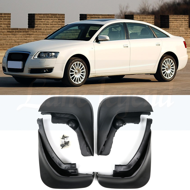 ACCESSORIES 4PCS/SET FIT FOR <font><b>AUDI</b></font> <font><b>A6</b></font> (C6) <font><b>2006</b></font> 2007 2008 2009 2010 SEDAN MUD FLAP FLAPS SPLASH GUARD MUDGUARD image
