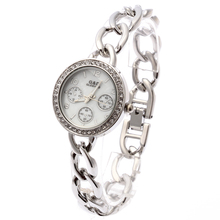 купить 2016 G&D Women Watch Silver Stainless Steel Band Rhinestone Luxury Bracelet Watch Women's White Dial Quartz Analog Wrist Watches дешево