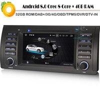 Android 8,0 Авторадио Восьмиядерный Sat Nav DAB + автомобиля gps навигации плеер для BMW 5 серии E39 E53 x3 Wi Fi 4 г DVD BT радио DVR OBD2