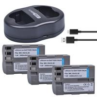 3x2400 mAh EN-EL3E EN EL3E En-El3e ENEL3E Batteria + Caricatore Doppio USB per Nikon D30 D50 D70 D80 D90 D100 D200 D300 D700 Camera