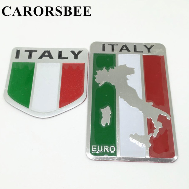 CARORSBEE Aluminum Italy Map National Flag Car Sticker Auto Styling EURO LOGO Automobiles motorcycle fuel tank bicycle stickers
