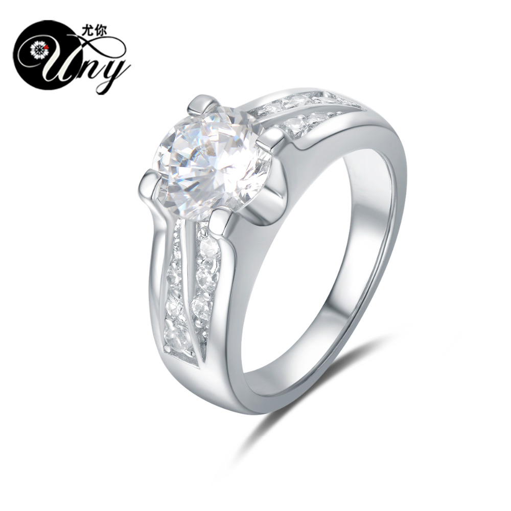 UNY Rings 925 Silver Custom Engrave Rhinestones Ring Women Love Wedding Promise Valentine Gift Ring Fashion Silver jewelry Rings