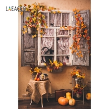 Laeacco Yard Window Chair Autumn Fruit Backdrop Photography Background Customized Photographic Backdrops For Photo Studio