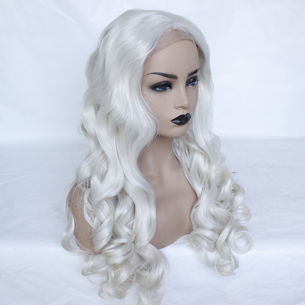 Fashion Platinum Blonde Synthetic Lace Front Wigs Heat Resistant Long Loose Body Wave White Blonde Wigs Cosplay for White Women-3