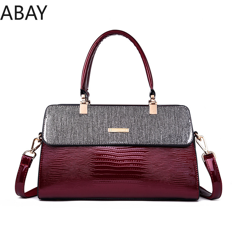 Abay 2018 Women Handbags Women Shoulder Bag Claret Messenger Bags Bolsa Feminina Patent Leather Women Bags 2018 women messenger bags vintage cross body shoulder purse women bag bolsa feminina handbag bags custom picture bags purse tote