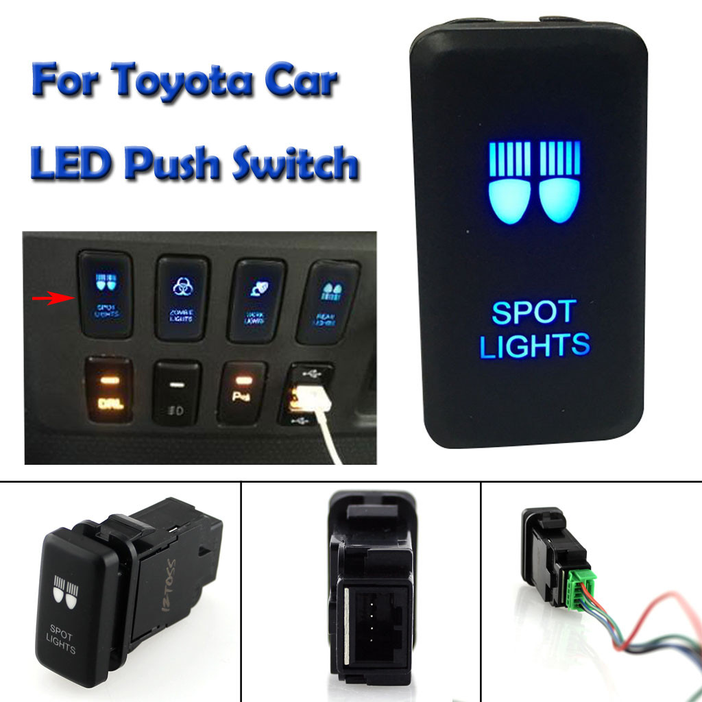 Car Switch Brand New 12V Blue LED SPOT LIGHTS Push Button Switch For Toyota Prado 120 Series 2003 2009#Y1|Sensors & Switches| |  - title=