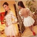 Moda 2015 branco sheer lace vestidos curtos prom manga comprida mini vestido de festa robe de soirée mulheres especial ocasião dress