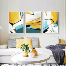 Nordic Modern Abstract Hand Painted Geometry Color Block Line Art Canvas Painting Poster Print Picture Home Wall Decor