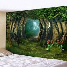 Большой Настенный гобелен с фантастическим лесным принтом недорогой