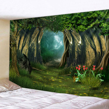 Fantasy Forest Print Large Wall Tapestry Cheap Hippie Wall Hanging Art Carpet Bohemian Decorative Living Room Big Blanket forest park print tapestry wall art