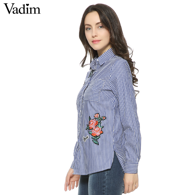 HTB1xyinQFXXXXcYXpXXq6xXFXXXk - Women floral dragonfly embroidery full cotton striped blouse long shirt