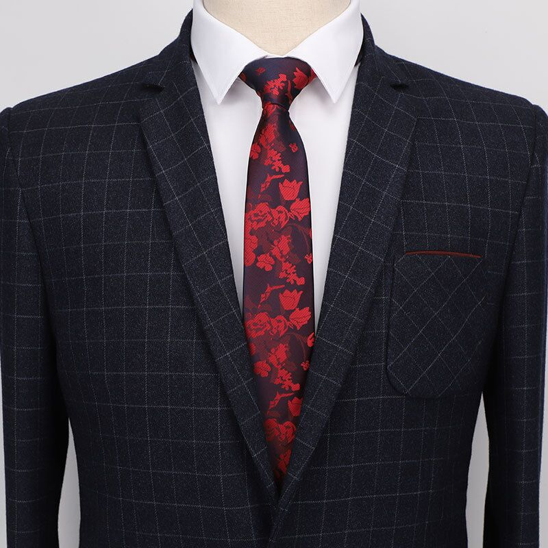 Floral Neck Tie 7 Cm Slim Ties For Men Necktie Black  Men 2019 Red Tie Skinny Blue Formal Dress Wedding Gifts For Guests
