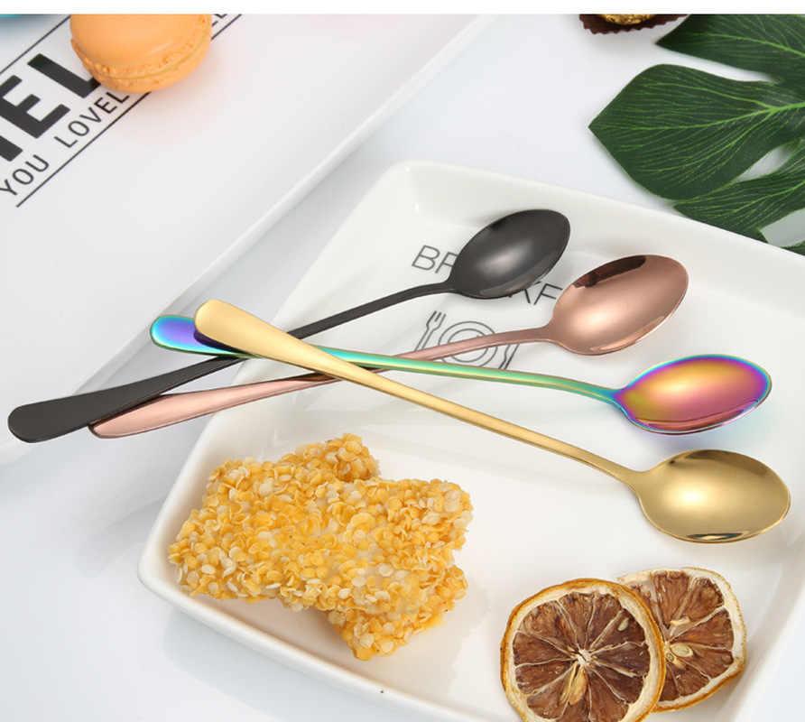 2019 nueva cuchara de café de acero inoxidable chapada al vacío cucharas de té de mango largo cocina cubiertos de bebida caliente Envío Directo