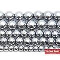 Бесплатная доставка Серебряный с натуральным камнем покрытием гематитовый, Шамбала Бисер 4 6 8 10 мм 15