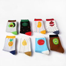 Women Size Healthy Fruits Short Socks Watermelon Pitaya Mango Avocado Pineapple Pear Apple Tomato Kiwi Stripes