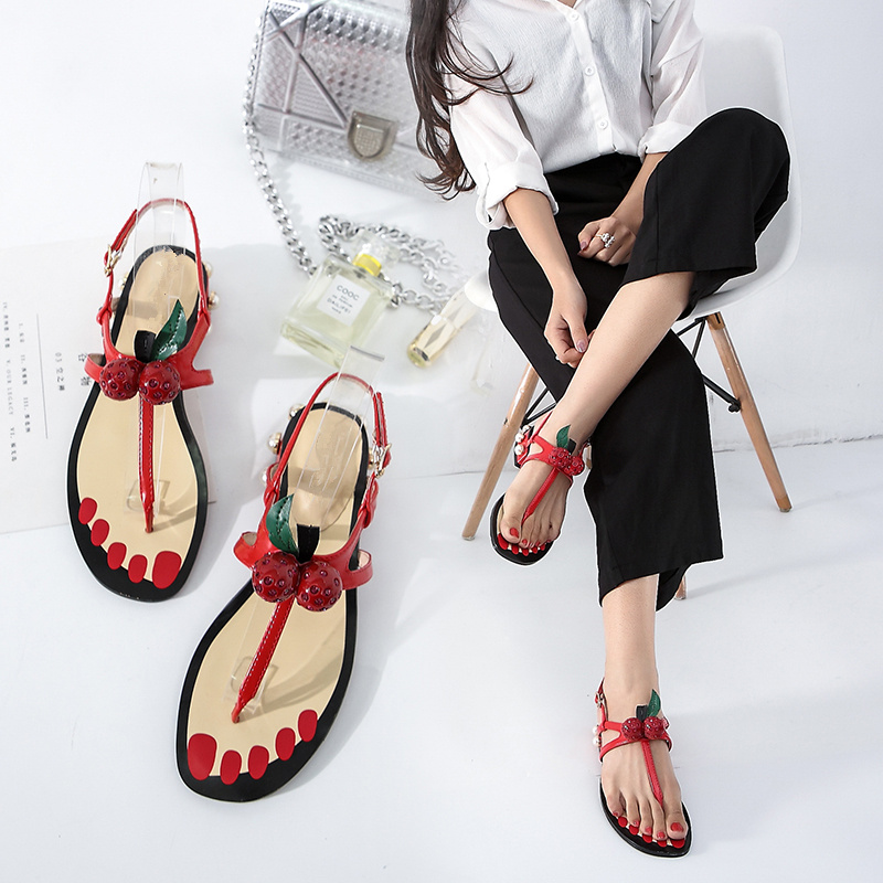 f4bdaed87473 Street Fashion Zapatos Mujer Slip on Summer Shoes Woman Narrow Band Cherry  Pearl Chunky Low Heels Flip-flop Thong Women Sandals