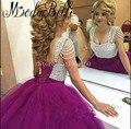 Princesa vestidos quinceanera roxo 2017 vestidos de baile de estréia com borla cristal baguetes sweet 16 dresses vestido de debutante