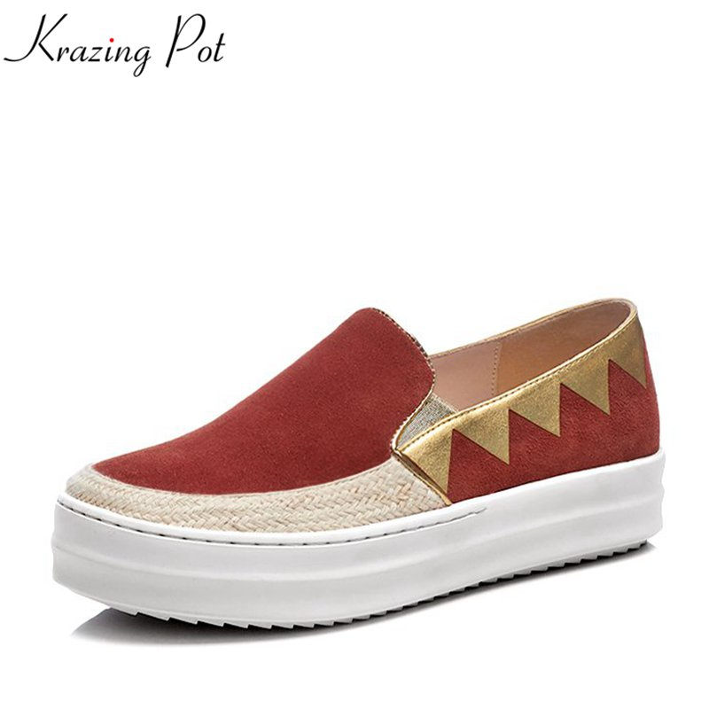 Krazing Pot cow suede superstar round toe sneaker mixed color slip on causal shoes preppy style vulcanized platform shoes L7f6