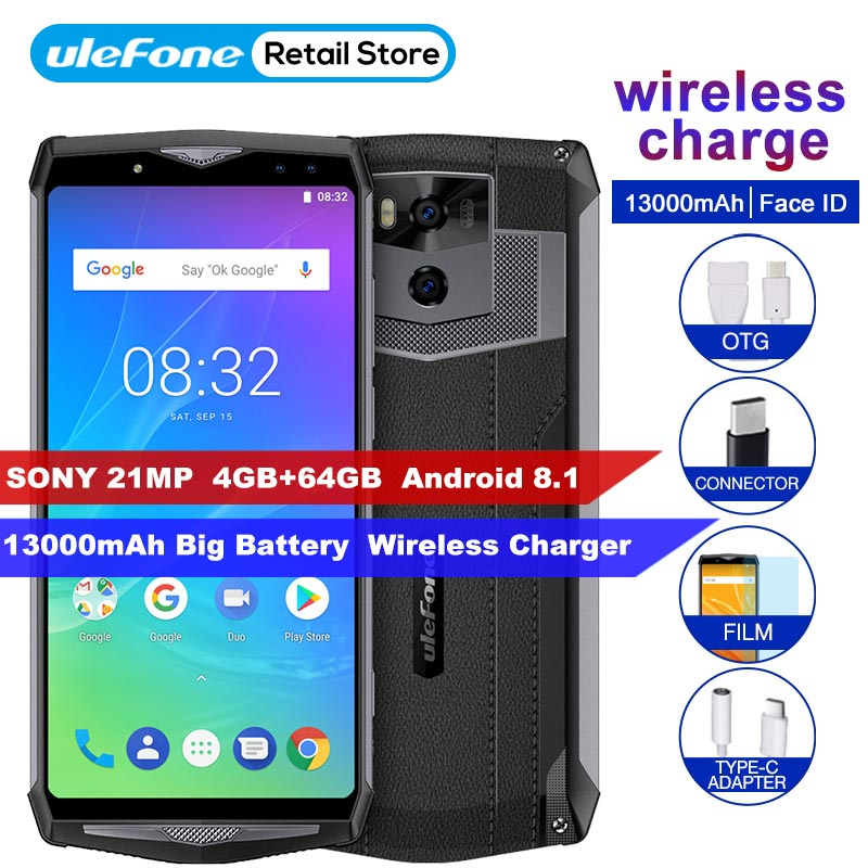 "Ulefone Power 5s 13000mAh 6.0"" FHD Smartphone 4GB+64GB MTK6763 Octa Core Android 8.1 21MP Face ID Wireless charger Mobile Phone"